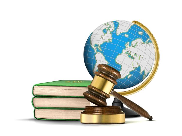Globe, gavel and law books
