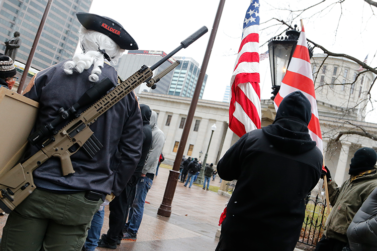 Armed protesters at the Ohio state capitol building