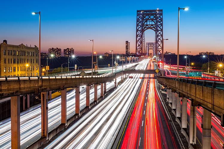 George Washington Bridge in the nighttime