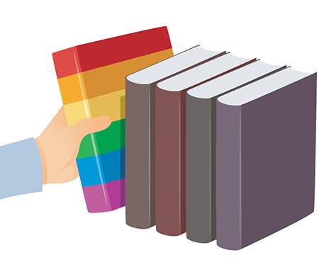 Hand reaching for rainbow book