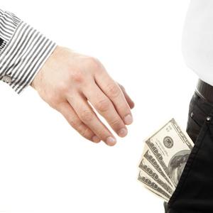 Hand taking money