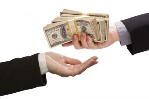 handing over money concept
