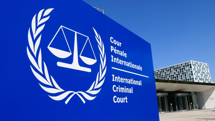International Criminal Court sign and building