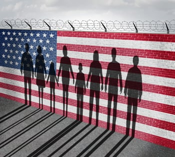 immigration barbed wire concept