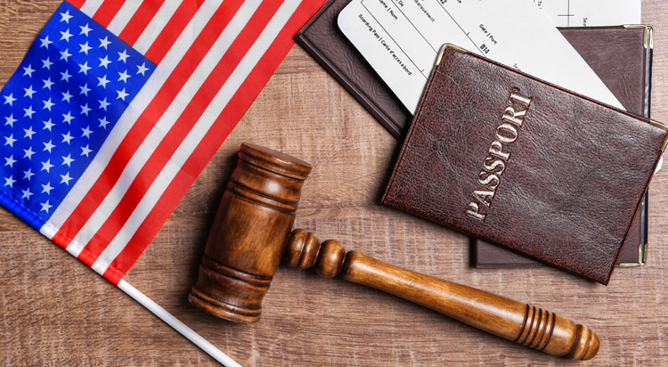 US flag, gavel and a passport