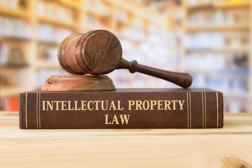 gavel and intellectual property law words