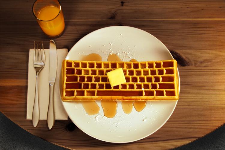 waffle shaped like a keyboard