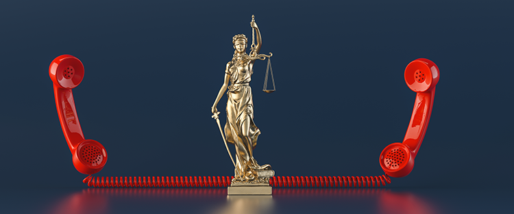 lady justice standing between two telephone handles