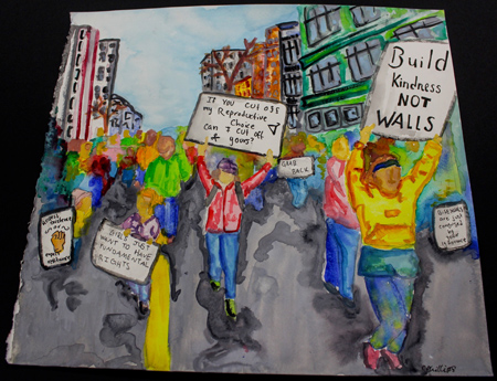 Painting of a protest march.