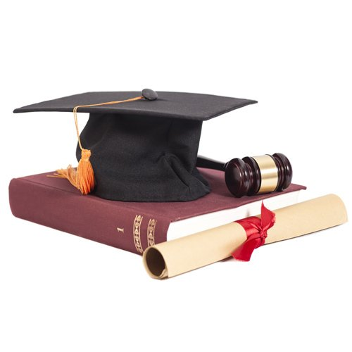 law school book and . cap
