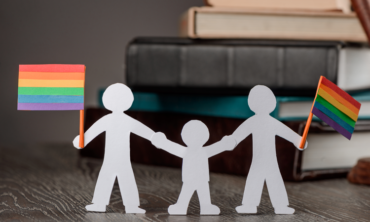 Paper doll family with rainbow flags in front of law books