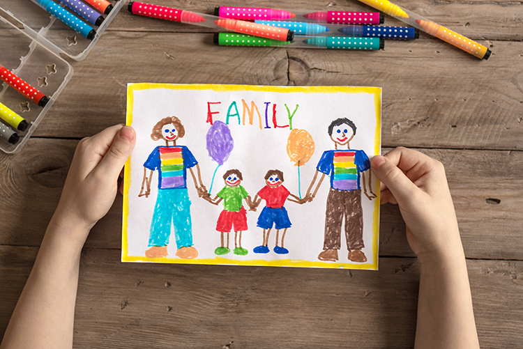 Child's drawing of a family with gay parents