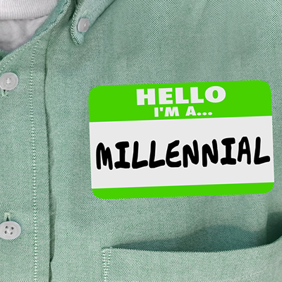 nametag that says millennial
