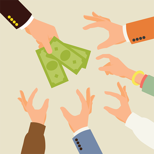 hands reaching for money