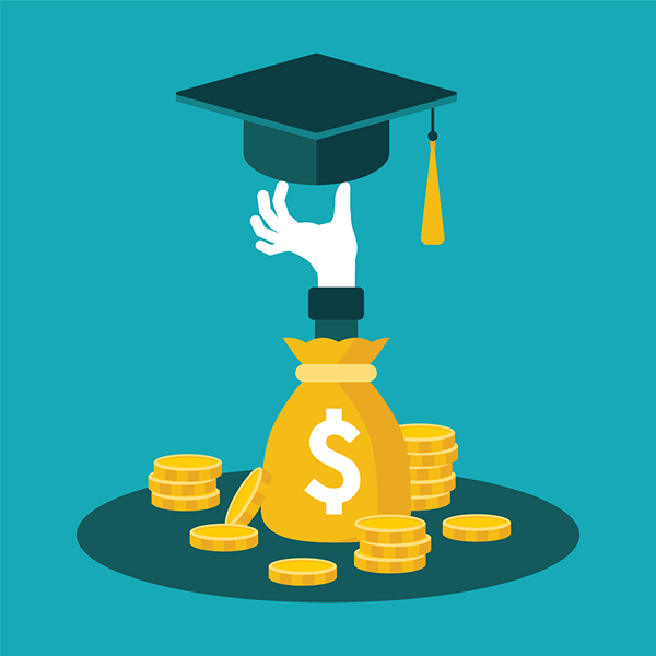 Hand extending from a money bag towards a graduation cap