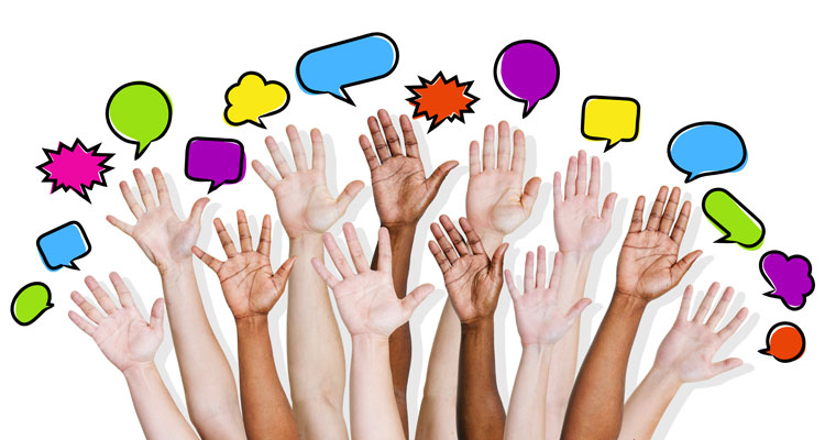 hands raised with speech bubbles