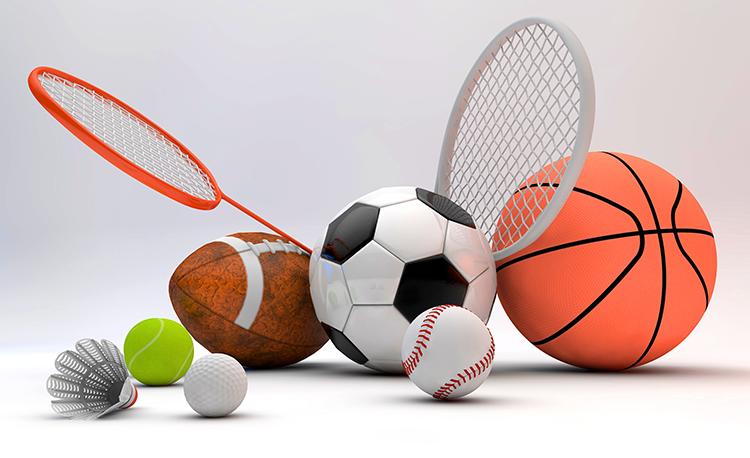 soccer ball, basketball, racquets, badminton and tennis
