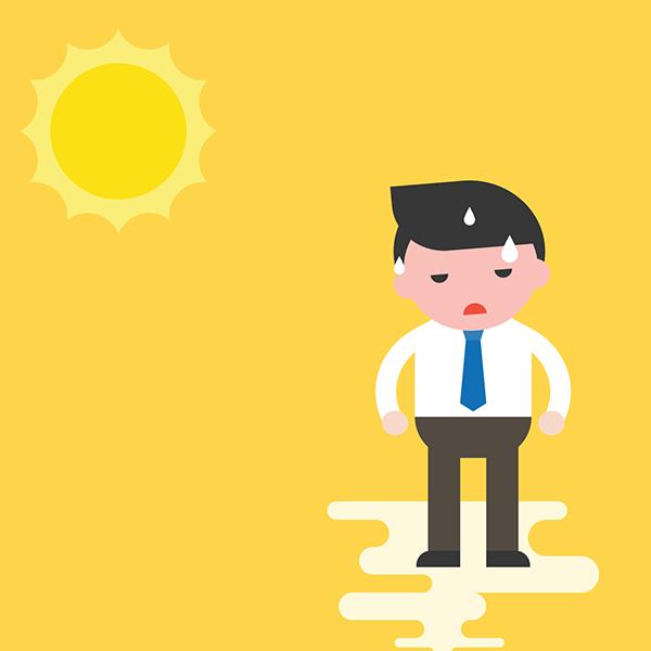 overheated man sweating in the sun.