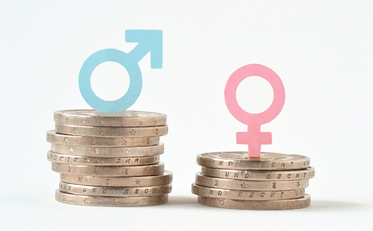pay gap concept with coins