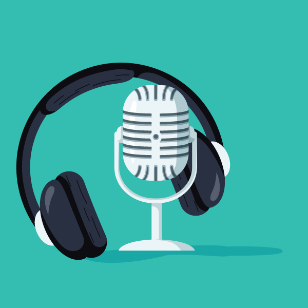 podcast and headphones