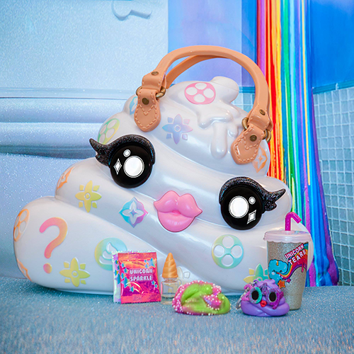 image of purse shaped like rainbow poop.