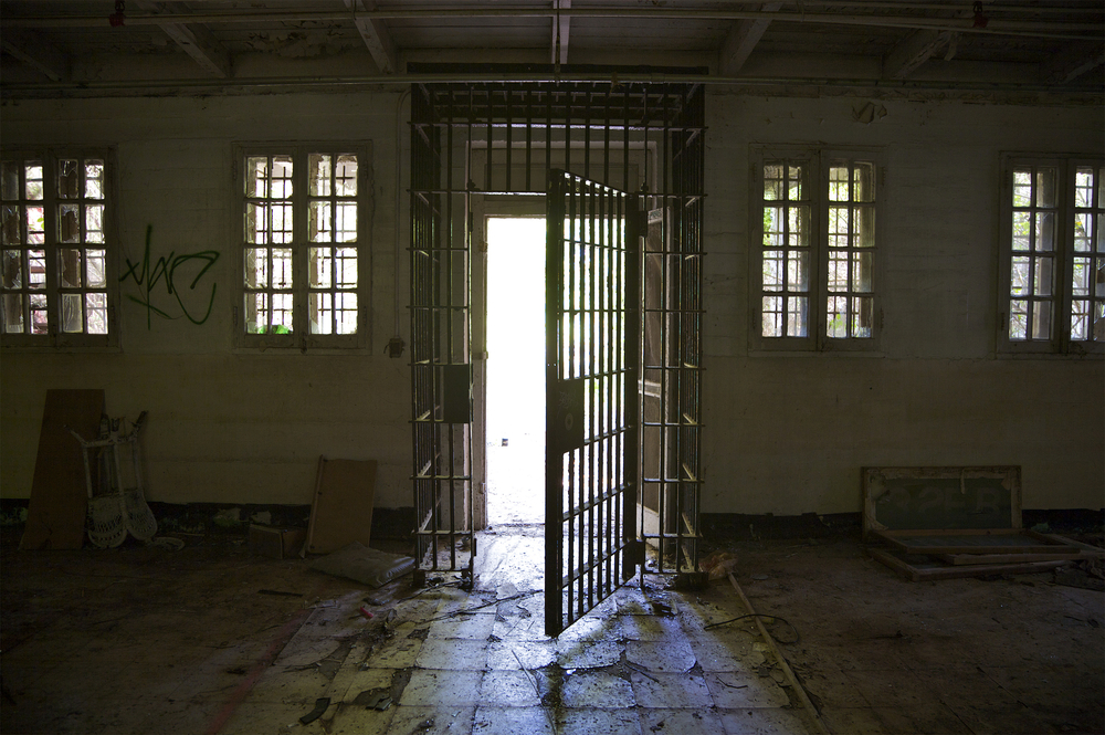 Prison door opening.