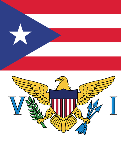 Puerto Rico and U.S. Virgin Islands flags.