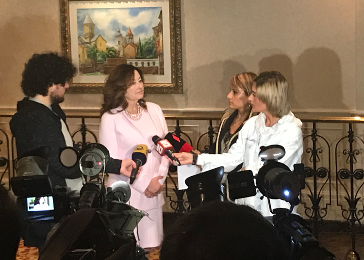 Ramona being interviewed by Georgian media