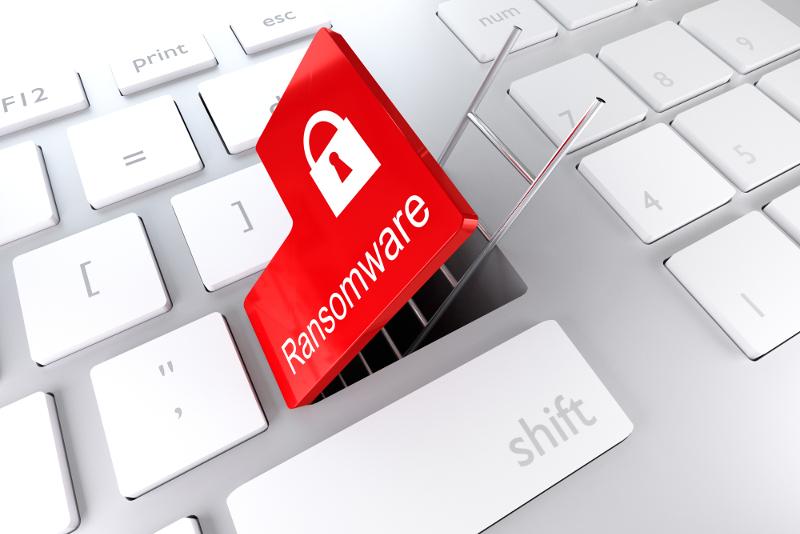 ransomware words on keyboard