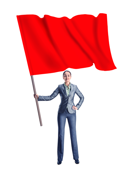 woman in a business suit holding a big red flag
