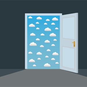 Door with blue sky beyond it.
