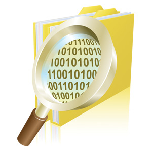 Magnifying glass looking into files