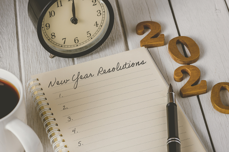 2020 new year with clock and notepad
