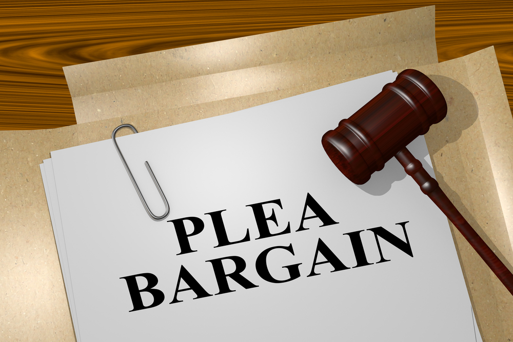 gavel and plea bargain documents