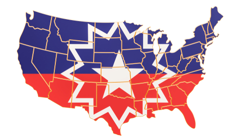 Juneteenth flag on the map of the USA