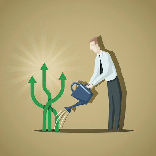 businessman watering plant concept with arrows