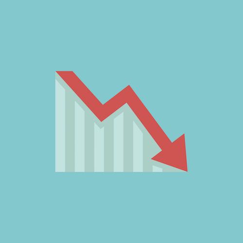 decrease chart with arrow (coronavirus cancellations)