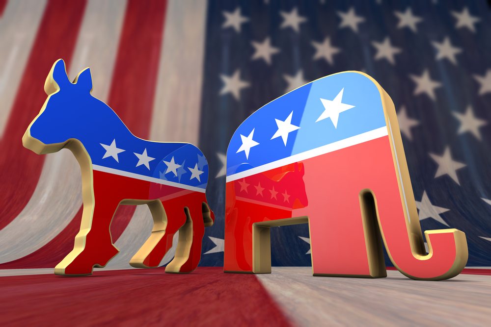 democrat republican symbol on flag background