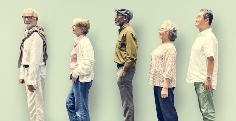 diverse group of elder people