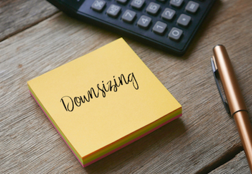 downsizing concept on notepad
