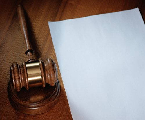 gavel and paper