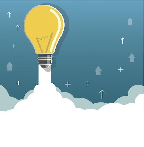 light bulb on cloud startup concept illustration