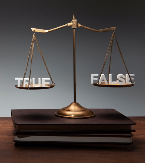 scales with true and false words