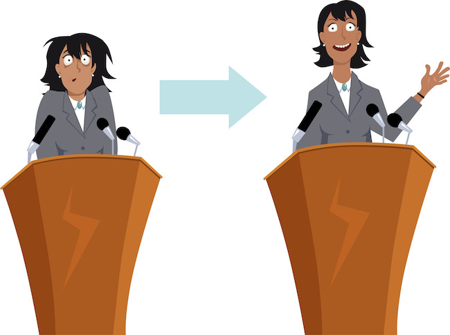 Anxious businesswoman character before and after public speaking training