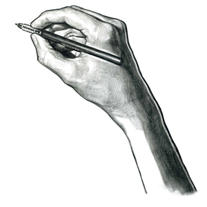 Pencil drawing of a hand sketching