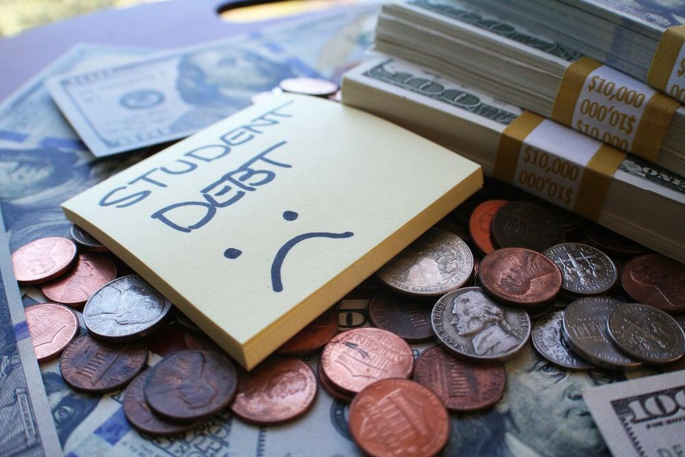 student debt money sticky note