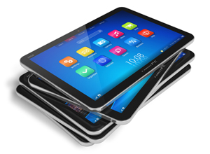 stack of tablet devices