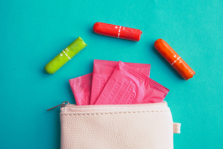 tampons and pads in a small zippered pouch