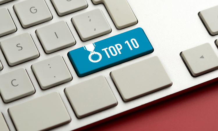 Keyboard with a key that says top 10