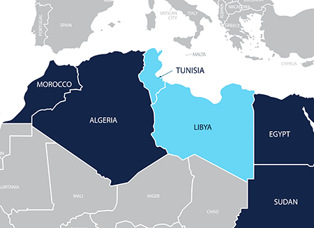 Map of Tunisia and Libya
